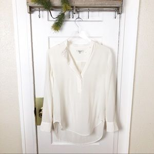 Madewell Popover Bib Blouse Silk White Small